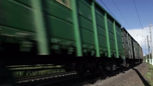 Freight Train Passing By: Stock Video