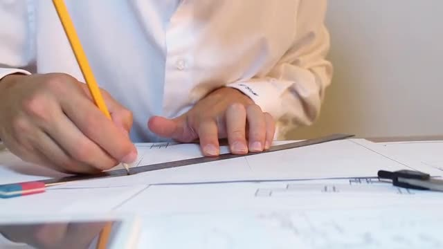 Engineer Working Using Ruler: Stock Video
