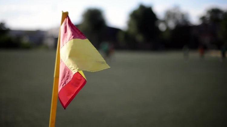 Soccer Corner Flag Waves: Stock Video