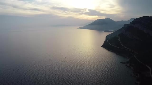 Beautiful Sea Sunset With Haze: Stock Video