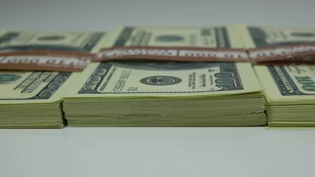 US Dollar Bills On Table : Stock Video