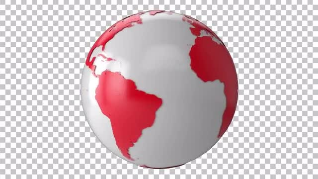 White-Red Earth Rotate: Stock Motion Graphics