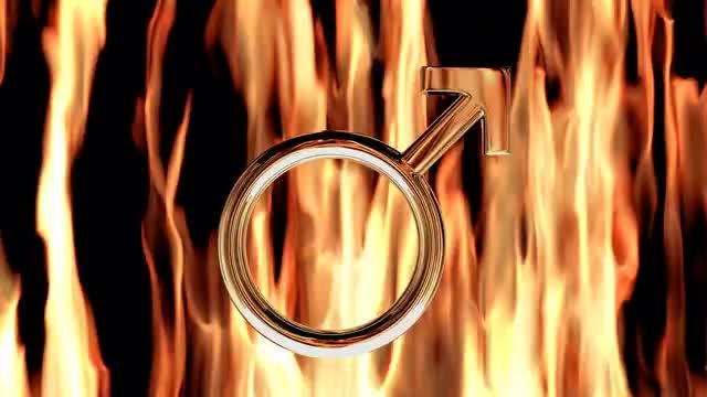 Chrome Male Symbol In Flames: Stock Motion Graphics