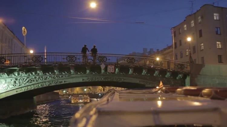 Boat Sailing Through Saint Petersburg: Stock Video