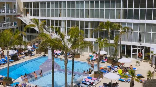 Pool At A Hotel Resort: Stock Video