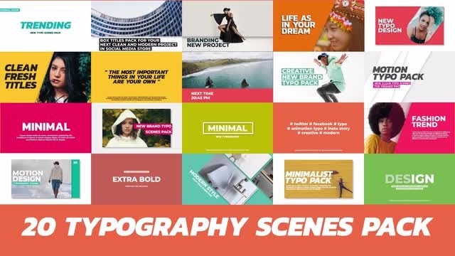 20 Trendy Typography Scenes: Premiere Pro Templates