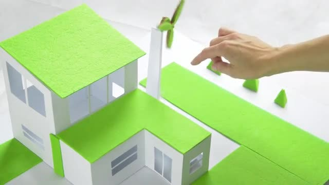 Model of a Green House and Windmill: Stock Video