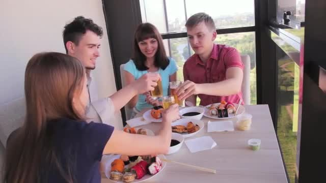 Friends Clinking Glasses In Restaurant: Stock Video