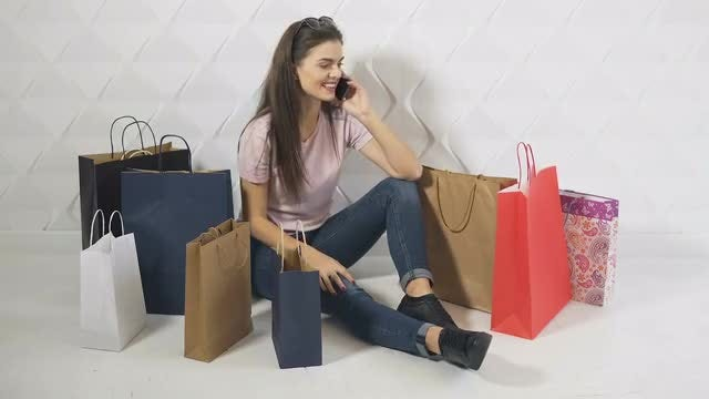 Happy Girl Talking On Cellphone: Stock Video