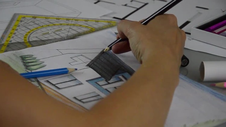 Coloring The House Plan : Stock Video