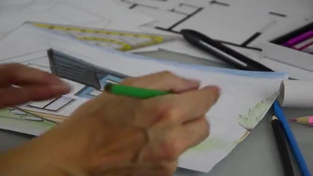 Architect Drawing Shrubbery To Plan: Stock Video