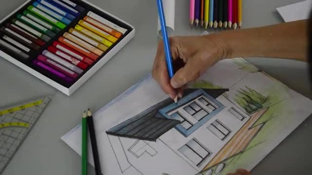 Coloring The Architectural Drawing: Stock Video