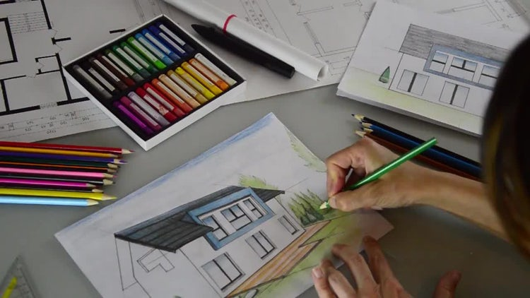 Female Architect Coloring Drawing: Stock Video