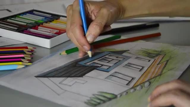 Arhitect Drawing Modern House: Stock Video