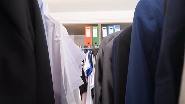 Racks Of Business-Casual Clothes: Stock Video