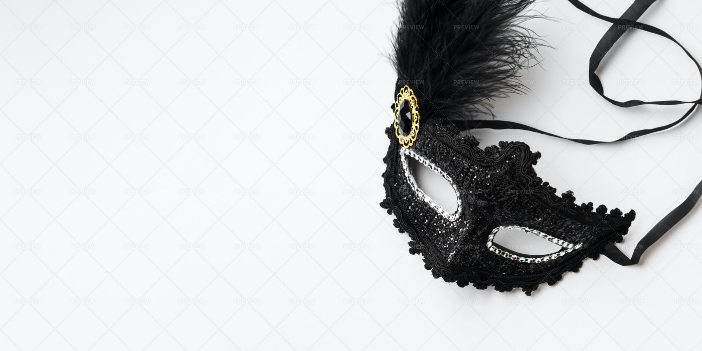 Black Carnival Mask Background: Stock Photos