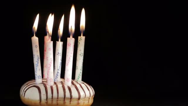 Birthday Candles On Cake Blown: Stock Video