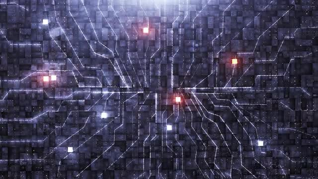 Digital Background With Neon Circuits: Stock Motion Graphics