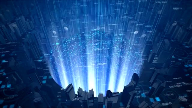 Digital Sci-Fi City Background: Stock Motion Graphics