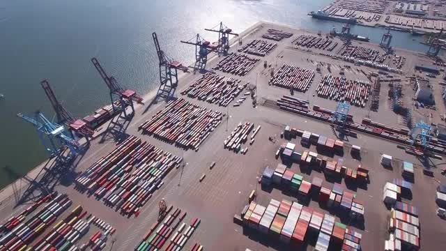 Container Port Aerial: Stock Video