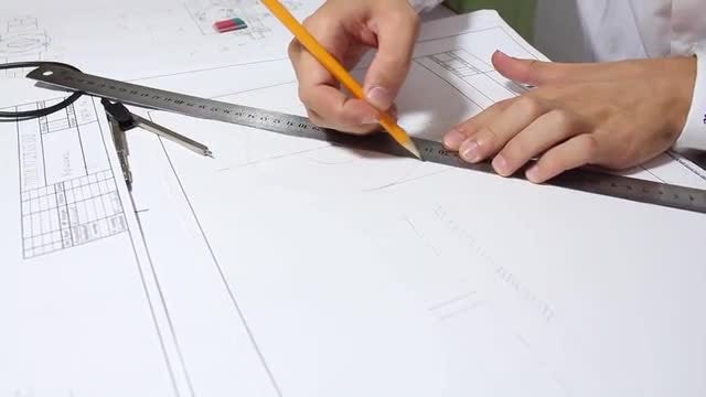Architect Drawing On White Paper: Stock Video