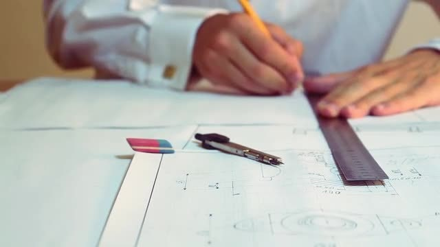 Architect Drawing Using A Ruler: Stock Video