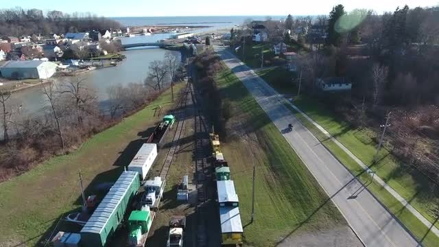Aerial Shot Of Train Yard : Stock Video