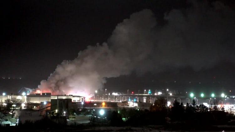 Burning Building At Night: Stock Video