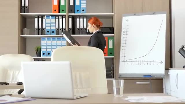 Redhead Businesswoman In The Office: Stock Video