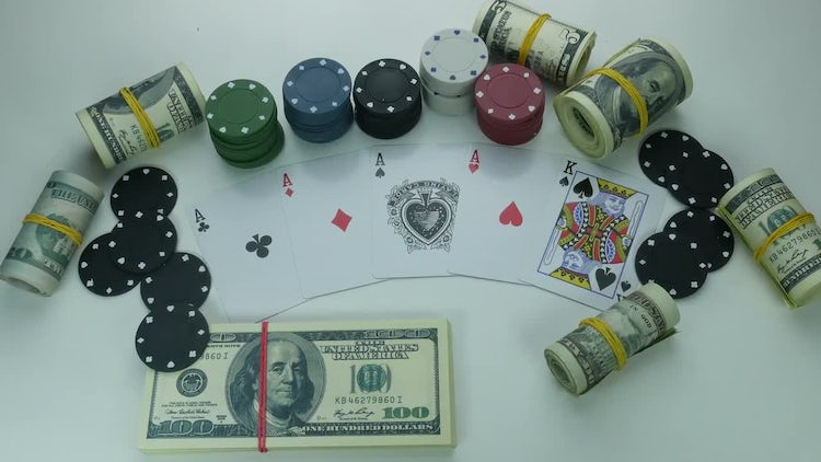 Poker Cards And Dollar Bills: Stock Video