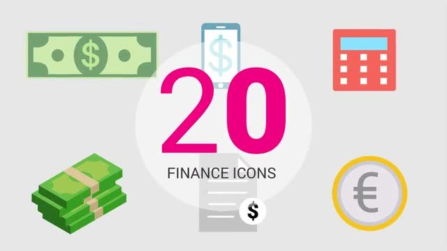 Infographic  Presets:  20 Finance Icons: After Effects Templates