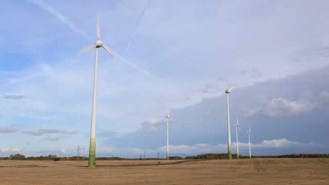 Wind Turbines Spinning: Stock Video