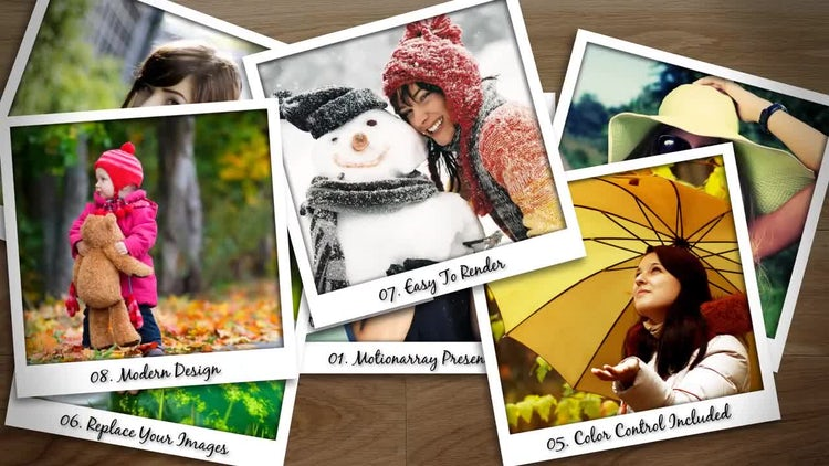 Falling Polaroid Photos: After Effects Templates