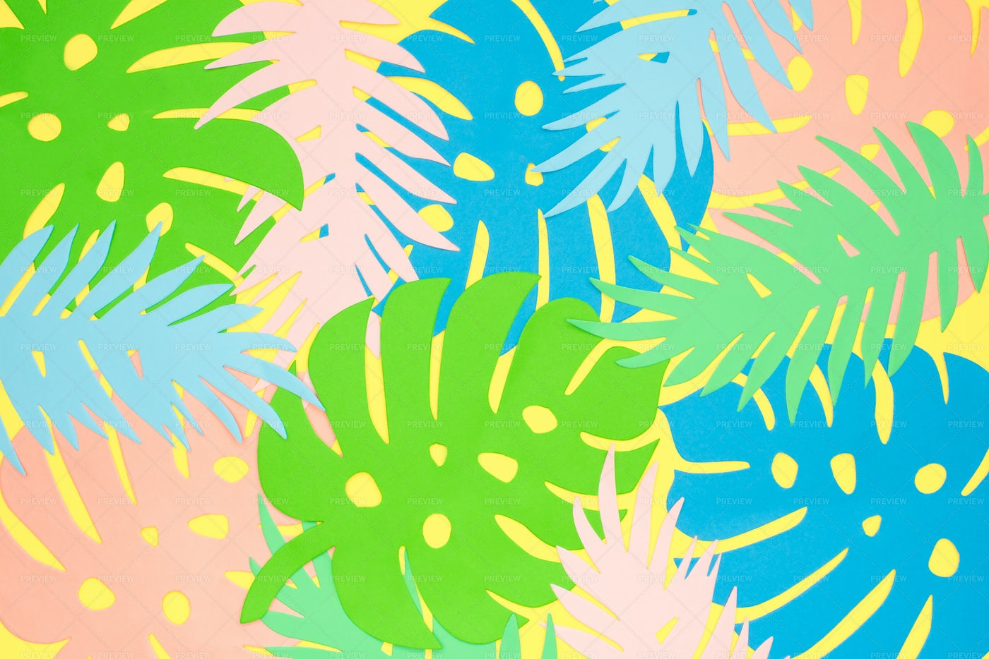 Paper Cut Tropical Leaves Background. Pa: Stock Photos