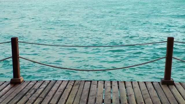 Wooden Dock And Rippling Sea : Stock Video
