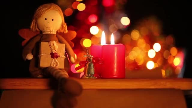 Toy And Candle With Bokeh : Stock Video