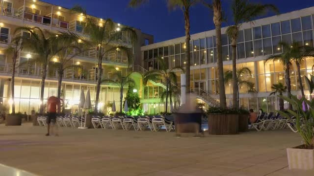 Time Lapse Of Hotel Patio: Stock Video