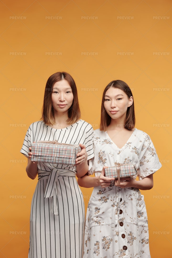 Twins Holding Gift Boxes: Stock Photos
