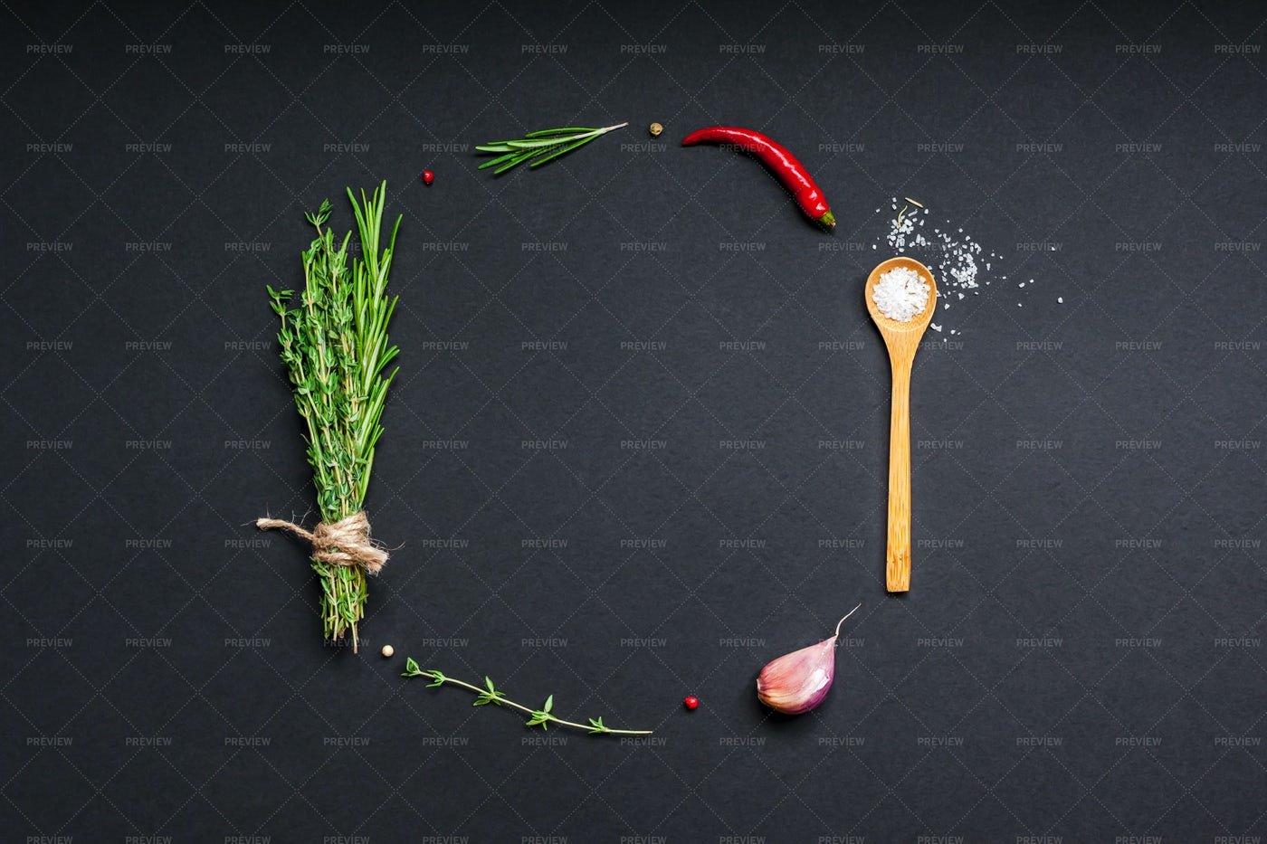 Food Background With Greens And Herbs: Stock Photos