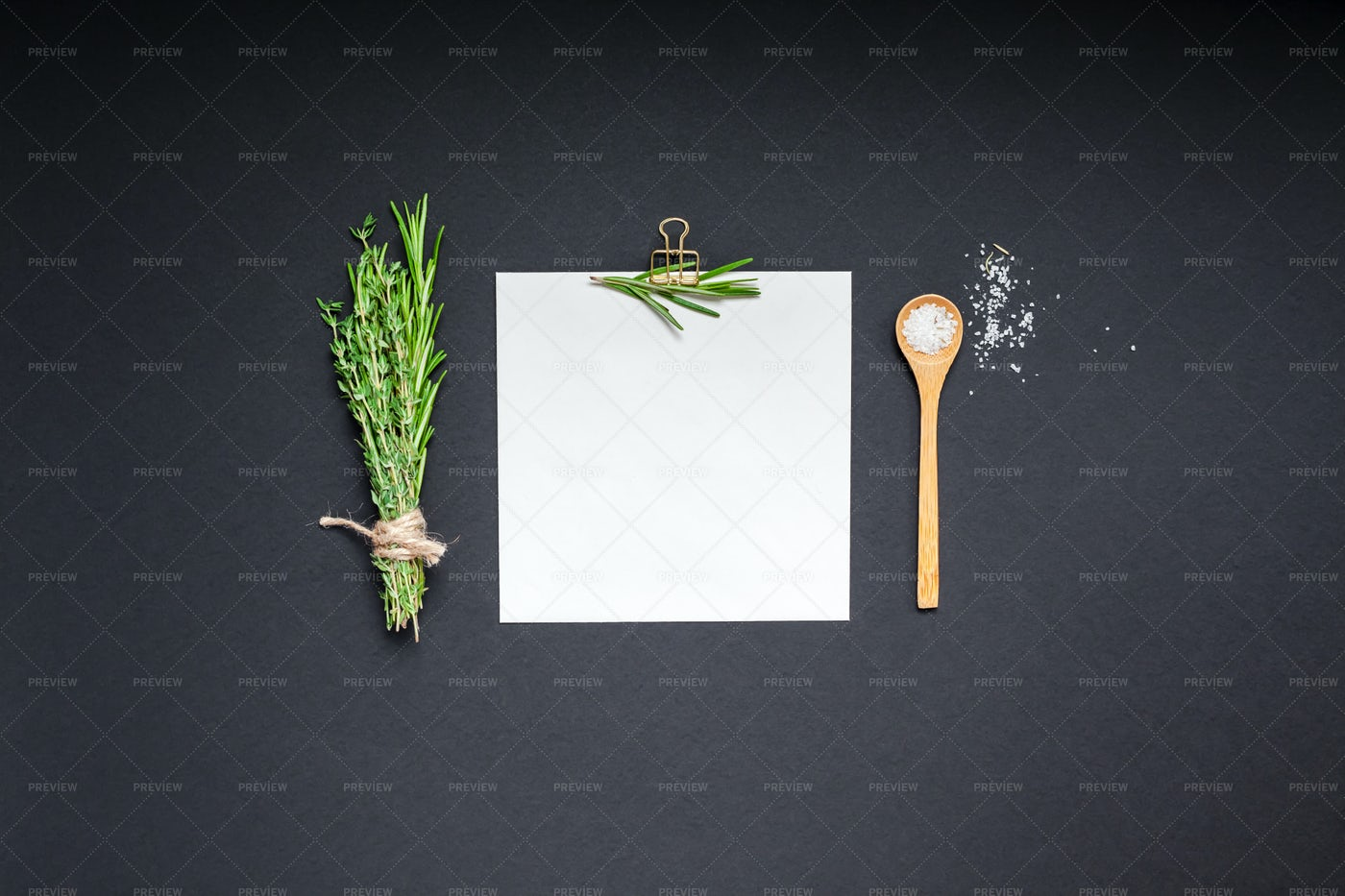 Notepad Page With Greens And Herbs: Stock Photos