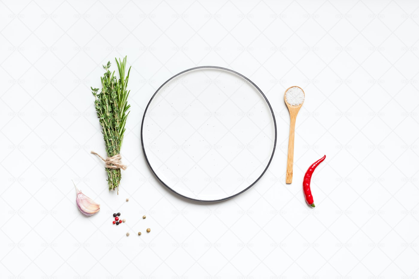 Empty Plate With Herbs And Spices: Stock Photos