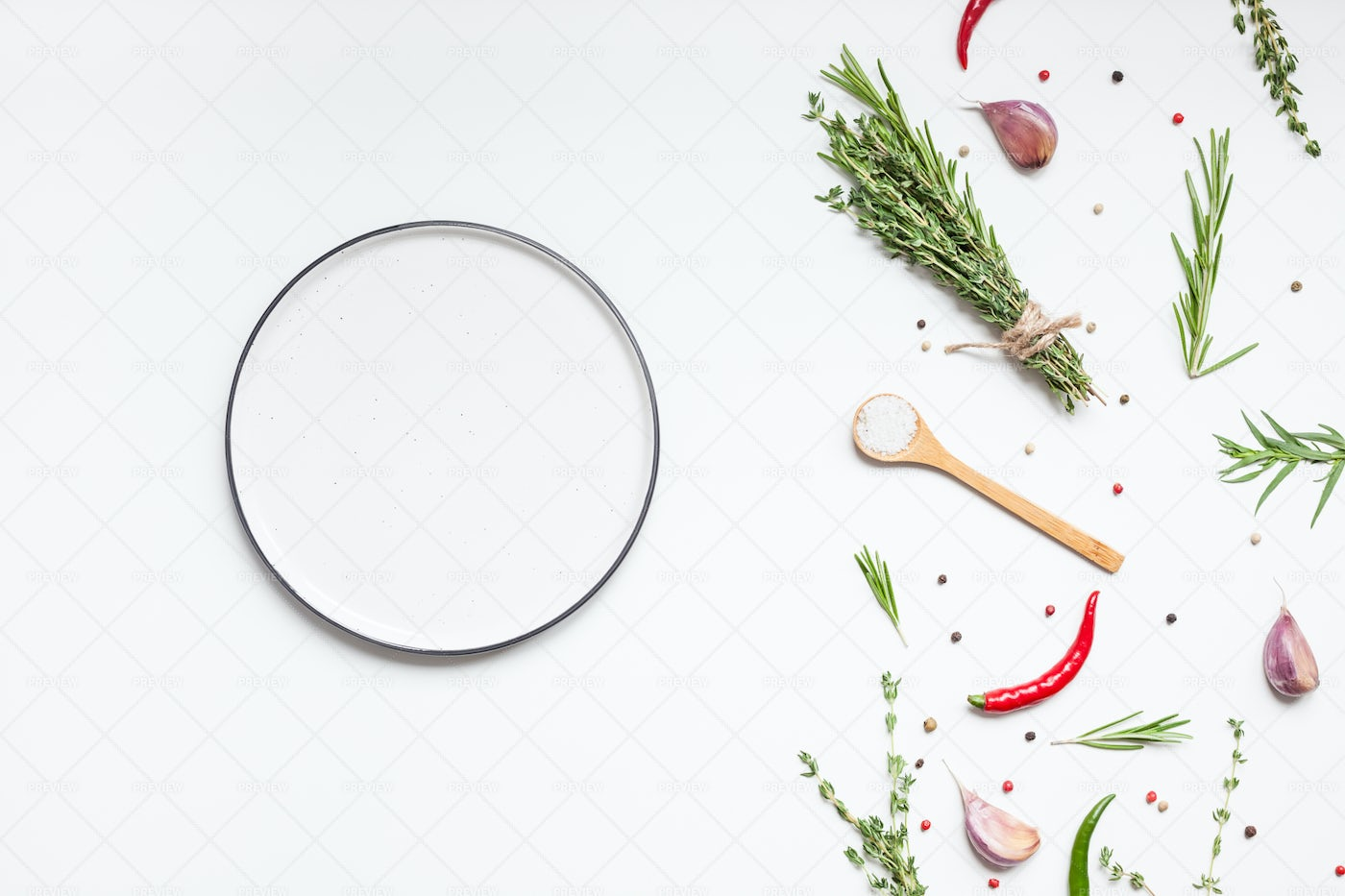 Plate With Herbs And Spices: Stock Photos