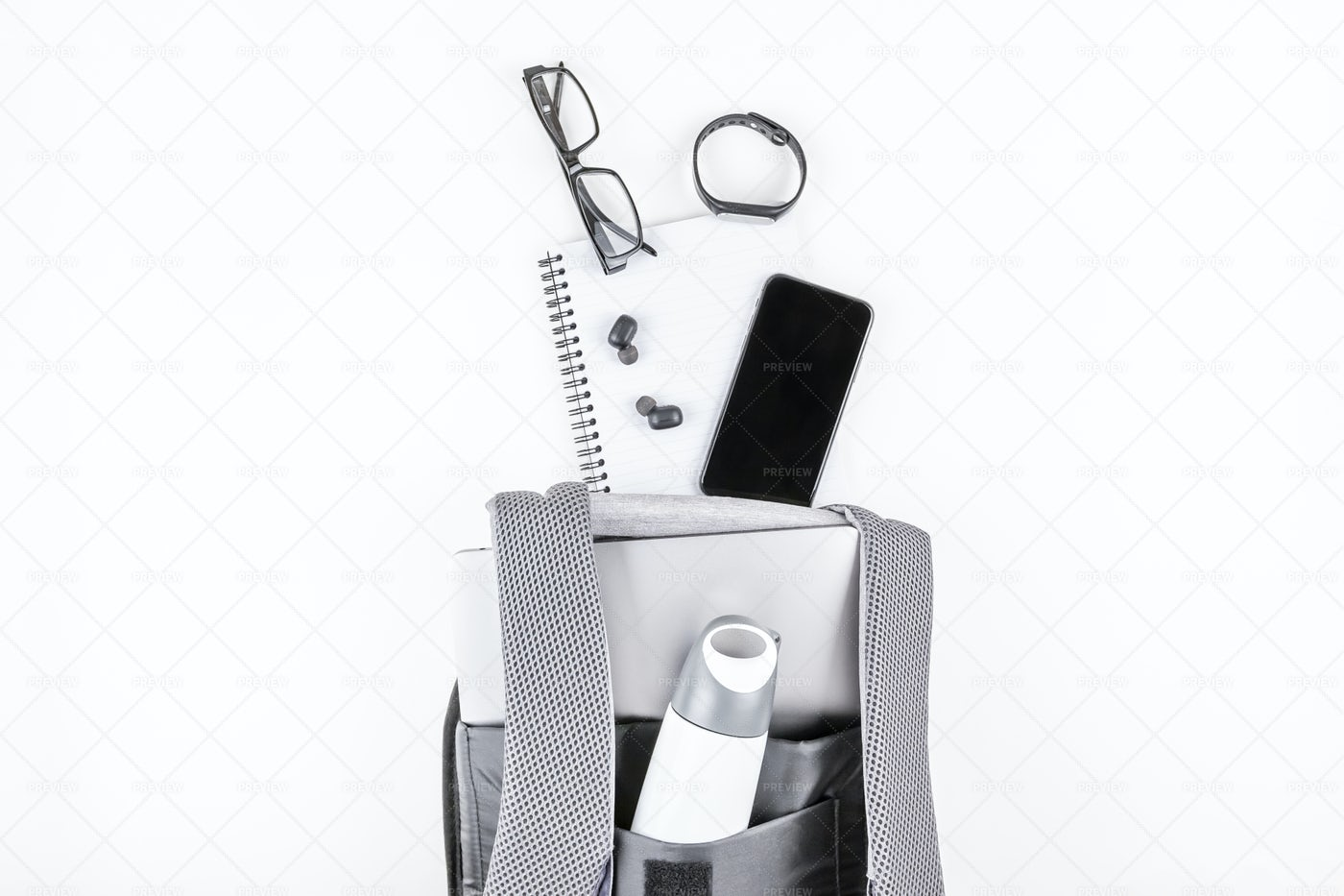 Backpack With Laptop And Gadgets: Stock Photos