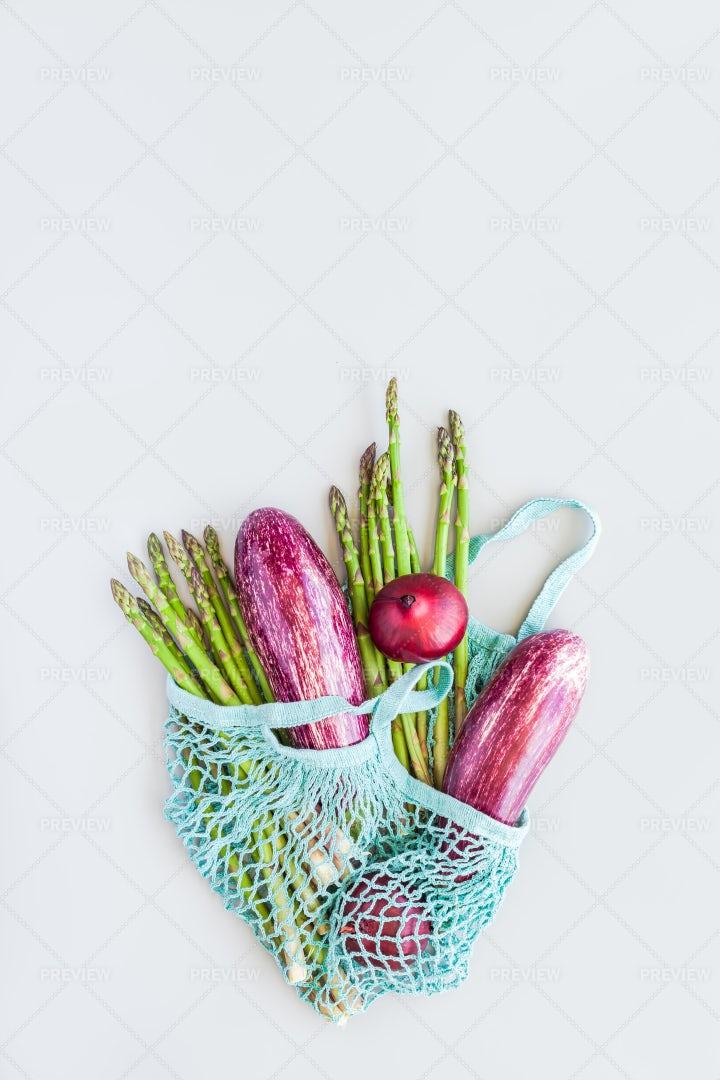 Fresh Vegetables In Mesh Bag: Stock Photos