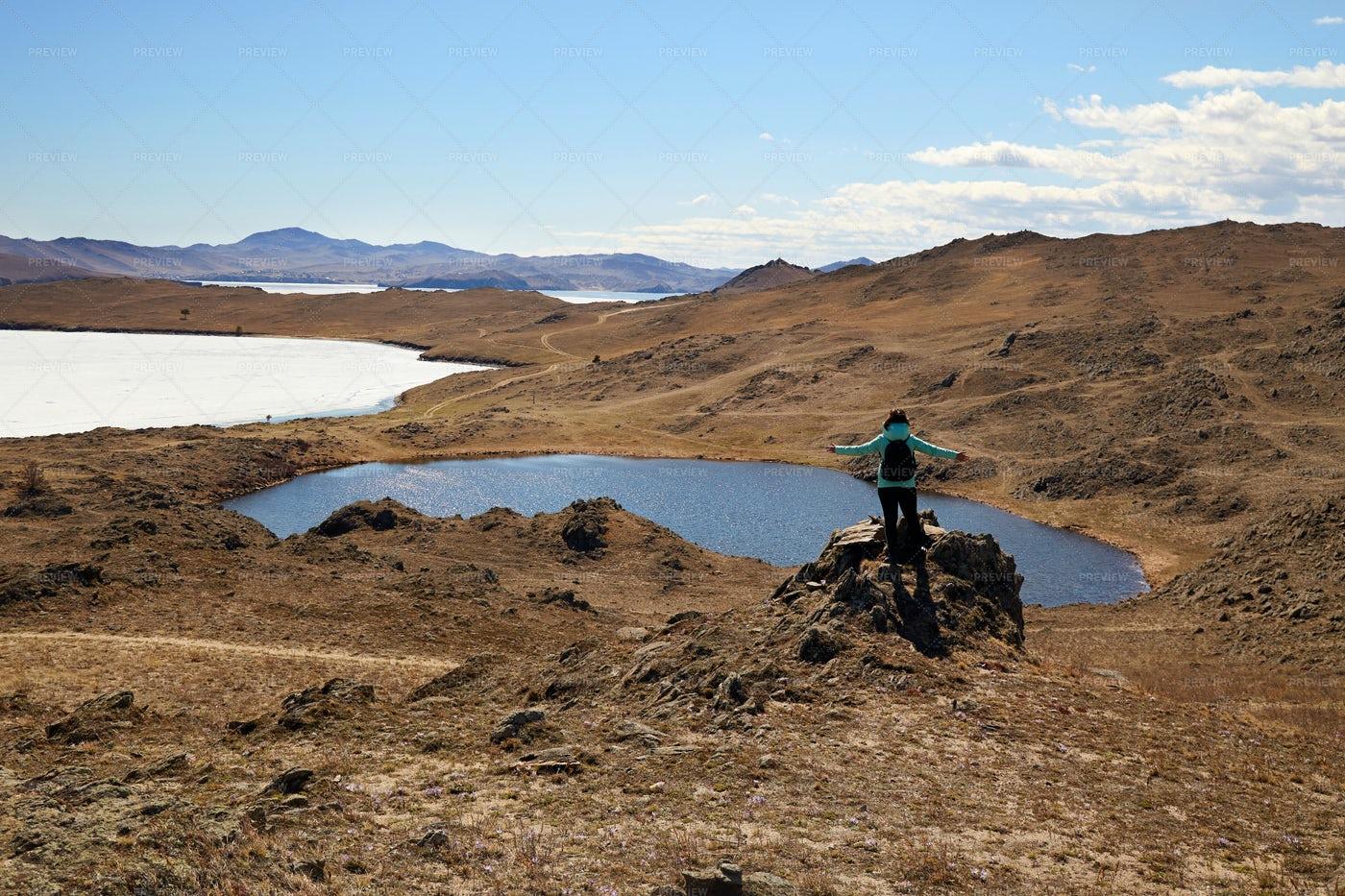 Tourist In Lake Nuku-Noor: Stock Photos