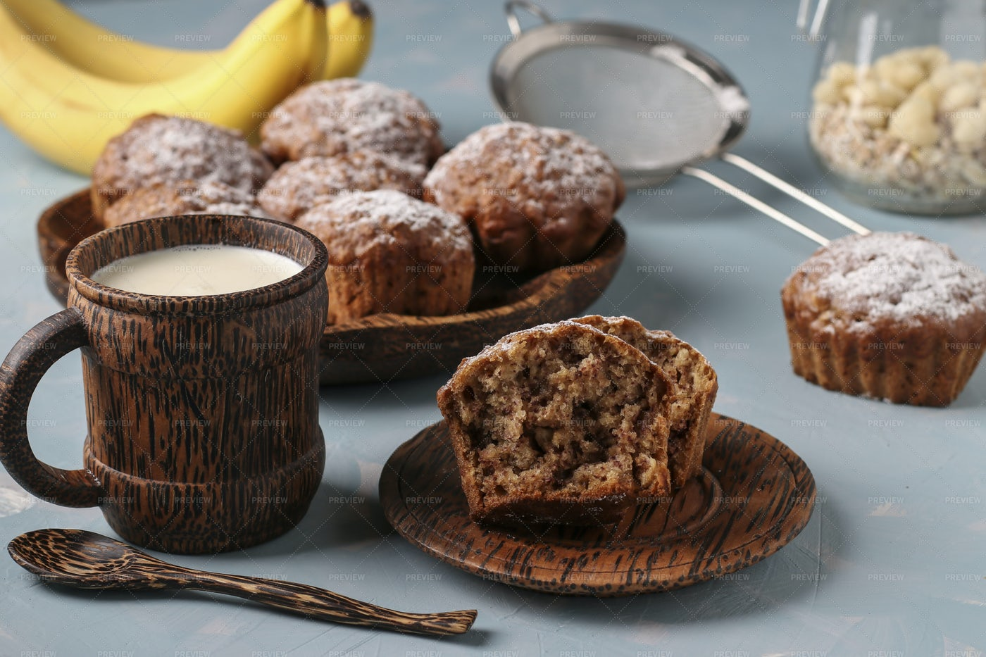 Banana Muffins And Milk: Stock Photos