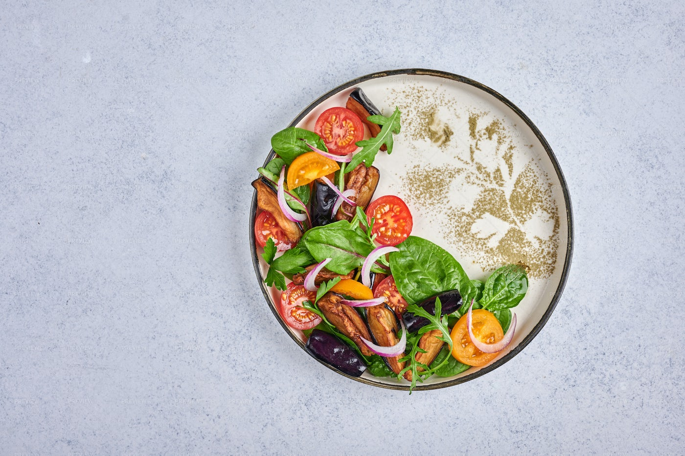 Styling Salad With Eggplant: Stock Photos