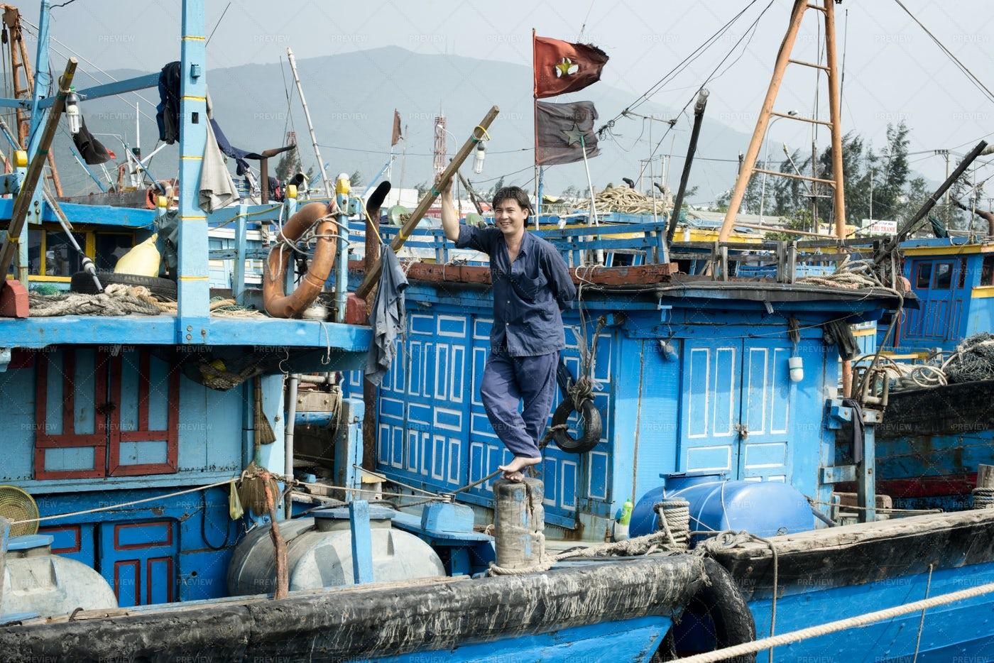 Smiling Fisherman: Stock Photos