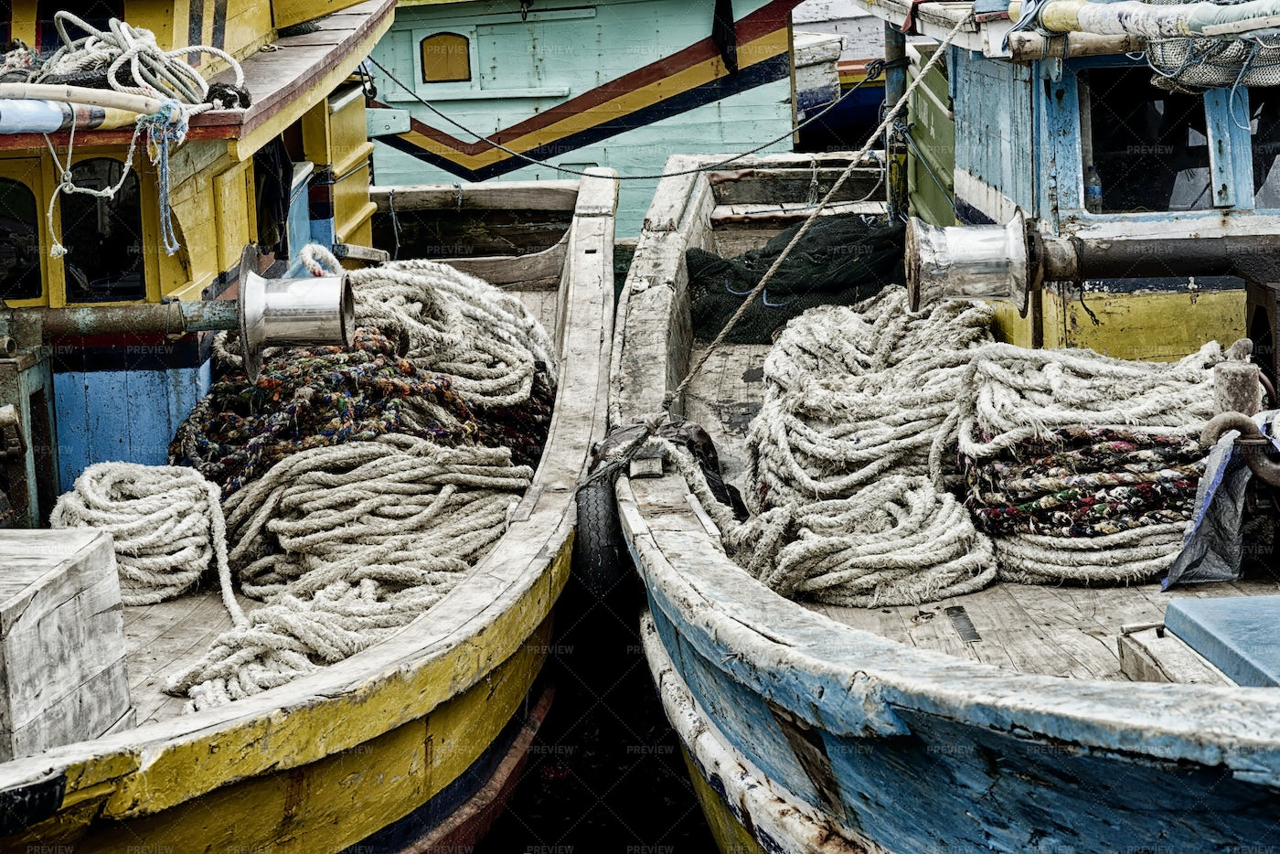 Coiled Ropes On Old Boats: Stock Photos