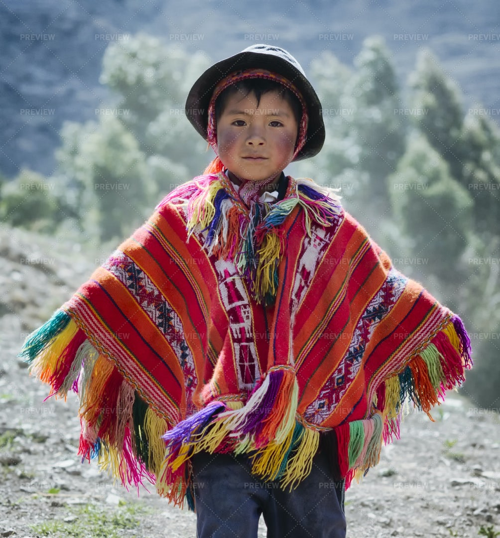 Peruvian Boy In Colorful Outfit: Stock Photos